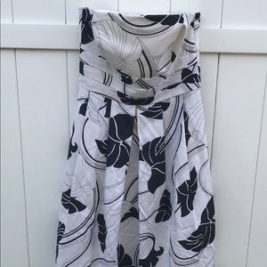 Ann Taylor Strapless Dress Womens Sz 6 White Black